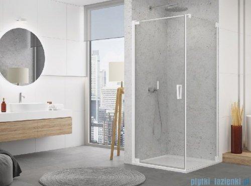 SanSwiss Cadura White Line drzwi wahadłowe 75cm jednoczęściowe lewe z profilem przyściennym biały mat CA1CG0750907