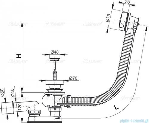 Alcaplast  syfon wannowy automatyczny biały A51B-80