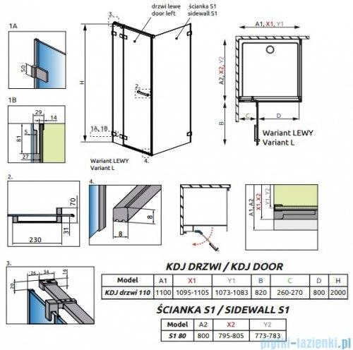 Radaway Euphoria KDJ Kabina prysznicowa 110x80 lewa szkło przejrzyste rysuenk techniczny