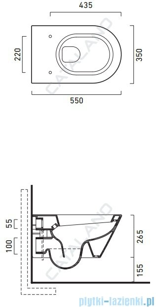 Catalano Zero Wc 55 miska WC wisząca 55x35 cm + deska wolnoopadająca biała 1VS55N00+5SCSTP00