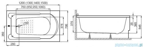 Polimat wanna prostokątna 140x70 Standard rysunek tecniczny