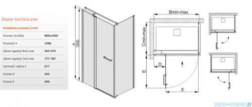 Sanplast kabina narożna prostokątna 80x100x198 cm KNDJ2/PRIII-80x100 przejrzyste 600-073-0260-01-401