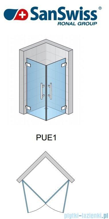 SanSwiss Pur PUE1 Wejście narożne 1-częściowe 40-100cm profil chrom szkło Efekt lustrzany Prawe PUE1DSM11053