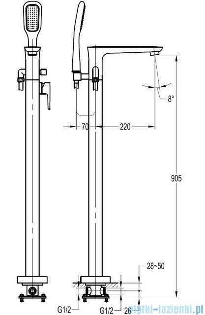 Omnires Hudson bateria wannowa wolnostojąca z zestawem natryskowym chrom HS4133CR