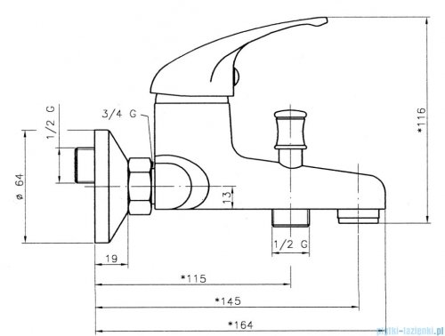 Ferro Titania Iris Bateria wannowa ścienna 92020/1.0