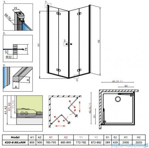 Radaway Fuenta New Kdd-B kabina 80x90cm szkło przejrzyste 384070-01-01L/384071-01-01R