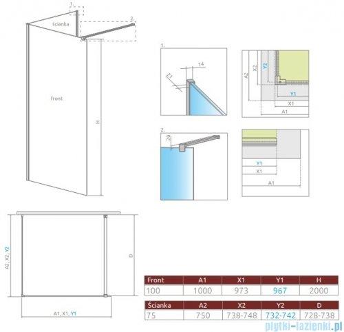 Radaway Modo New IV kabina Walk-in 100x75 szkło przejrzyste 389604-01-01/389075-01-01