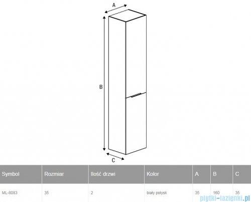 New Trendy Frea słupek wiszący 35 cm biały połysk ML-8083