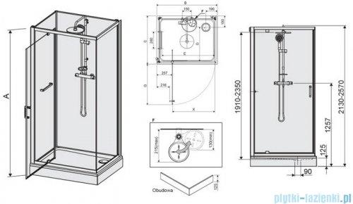 Sanplast Classic II kabina czterościenna kompletna KCDJ/CLIIa-80x120-S 80x120x210 cm przejrzysta 602-011-0241-38-4S1