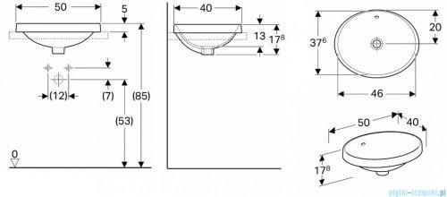 Koło Variform umywalka wpuszczana w blat 50x41cm 500.708.01.6
