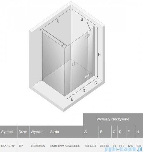 New Trendy Modema kabina prysznicowa 140x90 prawa przejrzyste EXK-1074P