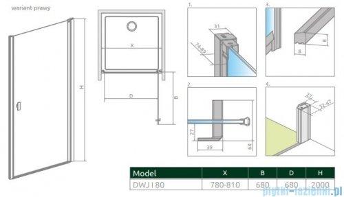 Radaway Nes Black Dwj I Frame Drzwi wnękowe 80cm prawe 10026080-54-56R