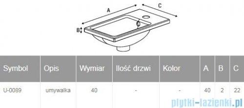 New Trendy umywalka ceramiczna z otworem na baterię 40 cm U-0089