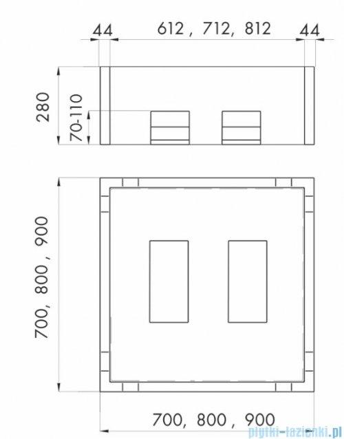 Schedpol nośnik styropianowy do brodzika stalowego kwadratowego 90x90x28cm 2.004