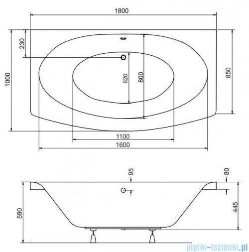 Besco Telimena 180x85cm wanna prostokątna + obudowa + syfon rysunek techniczny