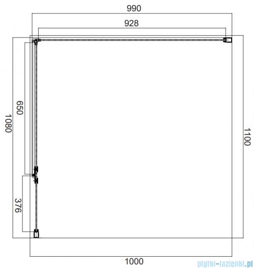 Omnires Manhattan kabina prostokątna 110x100cm szkło przejrzyste MH1110CRTR