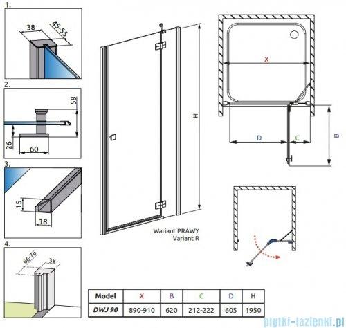 Radaway Almatea DWJ Gold drzwi wnękowe 90 prawe szkło grafitowe 31102-09-05N