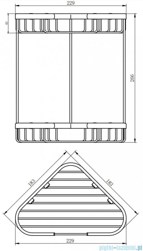 Omnires Uni Narożny podwójny koszyk prysznicowy mocowany do ściany chrom UN3515ACR