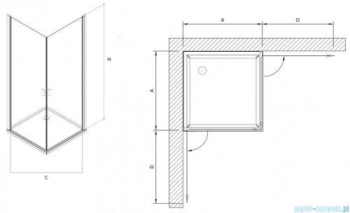 Clusi Atena kabina kwadratowa 80x80x200 cm przejrzyste 3329ATE80