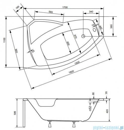 Besco Rima 170x110cm wanna asymetryczna lewa + obudowa + syfon #WAR-170-NL/OAR-170-P/L/19975