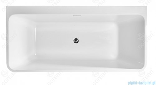 Corsan Iseo wanna wolnostojąca przyścienna 170x80 cm biała + syfon klik-klak E-019