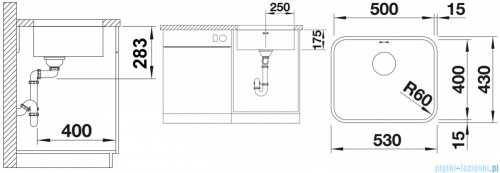 Blanco Supra 500-U komora podwieszana  stal szlachetna szczotkowana bez k. aut.   518205