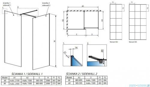 Radaway Modo New Black III kabina Walk-in 60x90x200 Frame rysunek techniczny