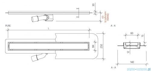 Wiper New Premium Pure Odpływ liniowy z kołnierzem 80 cm ma rysunek techniczny