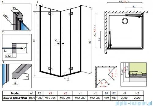 Radaway Essenza New Kdd-B kabina 100x100cm szkło przejrzyste 385072-01-01L/385072-01-01R