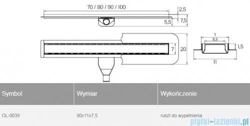 New Trendy Vimo odpływ liniowy z rusztem do wypełnienia 80x11x7,5 cm OL-0039