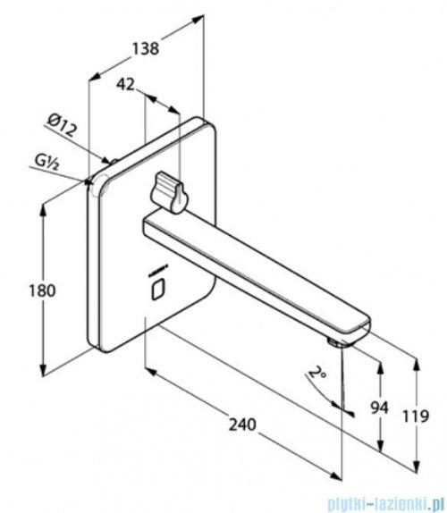 Kludi Zenta ścienna elektroniczna bateria umywalkowa 3840005