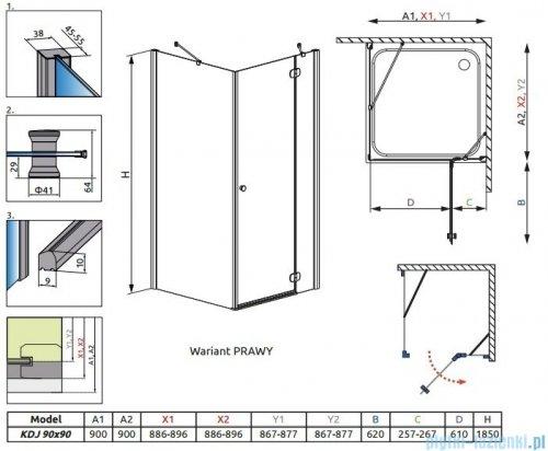 Radaway Torrenta Kdj kabina kwadratowa 90x90 prawa szkło grafitowe 32202-01-05NR