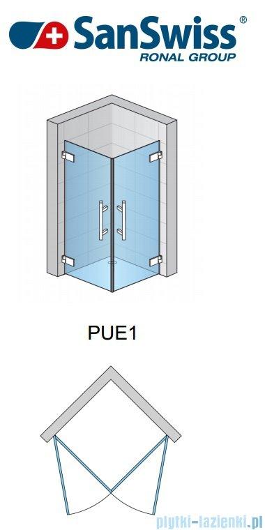 SanSwiss Pur PUE1 Wejście narożne 1-częściowe 40-100cm profil chrom szkło Master Carre Prawe PUE1DSM11030
