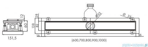 Schedpol Base-Low odpływ liniowy z maskownicą Stamp 70x8x6,5cm OLSP70/ST-LOW