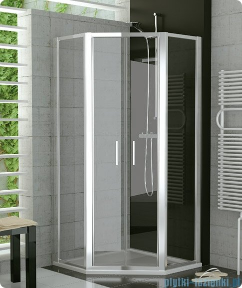 SanSwiss Top-Line Pięciokątna kabina prysznicowa TOP52 z drzwiami otwieranymi 80x80cm pas/połysk TOP5260805051