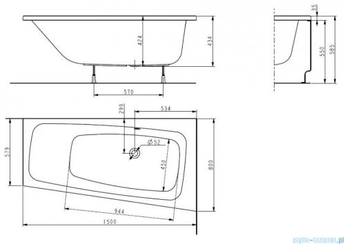 Koło Split wanna asymetryczna prawa 150x80cm XWA1650
