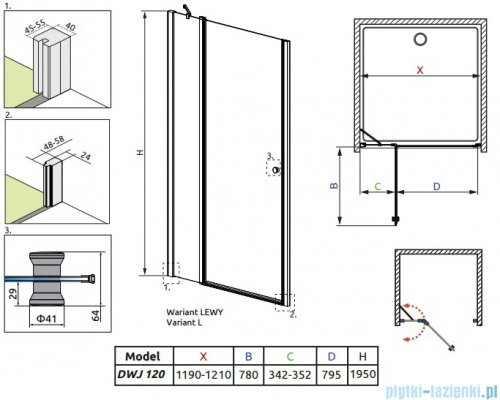 Radaway Eos II DWJ Drzwi prysznicowe 120x195 lewe szkło przejrzyste 3799444-01L