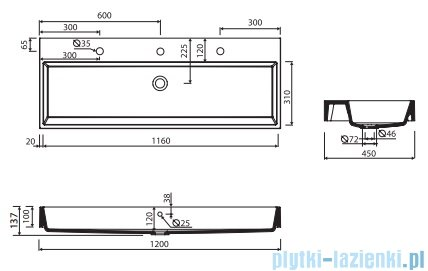 Marmorin Teo 1200 umywalka wpuszczana w blat 120x45 bez otworu przelewowego i bez otworu na baterie biała 641120020010