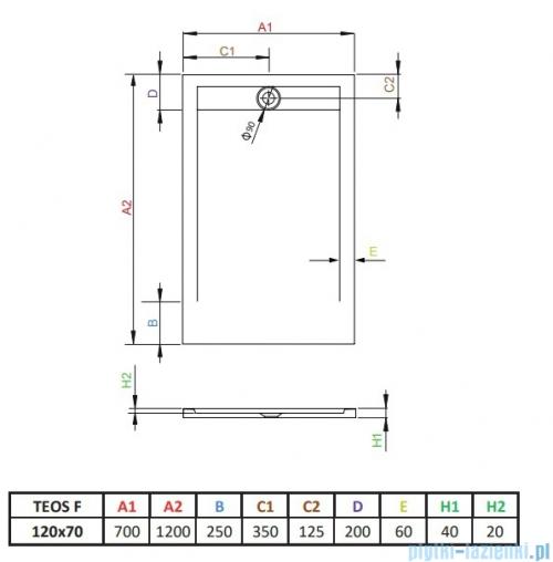 Radaway Teos F brodzik 120x70cm antracyt HTF12070-64