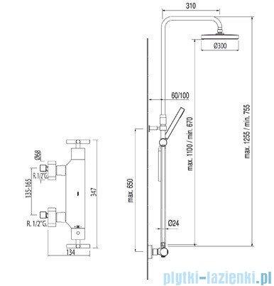 Tres Bimax Zestaw termostatyczny natryskowy kolor chrom 063.211.01