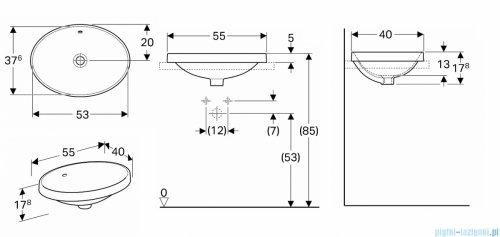 Koło Variform umywalka wpuszczana w blat 55x39cm 500.716.01.6