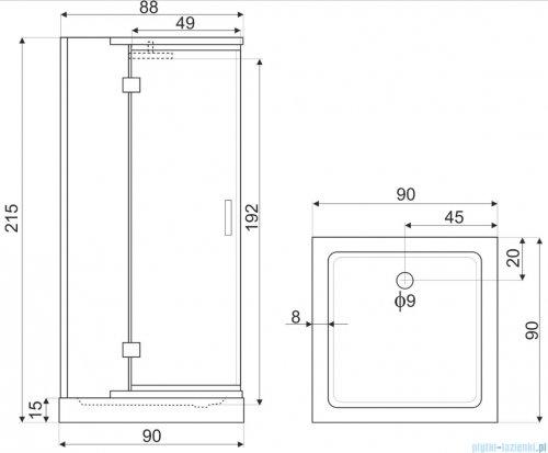 Novoterm Bjorg Kabina hydromasażowa-przyścienna 90x90x215 cm