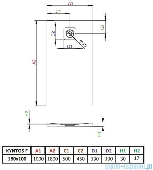 Radaway Kyntos F brodzik 180x100cm biały rysunek techniczny