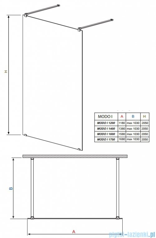 Radaway Modo I kabina Walk-in 140x205 przejrzyste 351144-01-01N