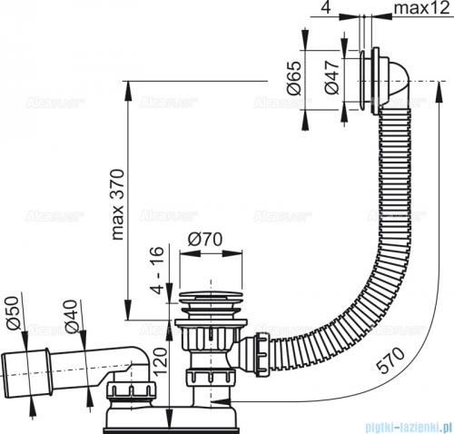 Alcaplast  syfon wannowy klik-klak, chrom A505CRM