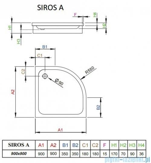 Radaway Brodzik półokrągły Siros A 90x90 na podstawie styropianowej SBA9917-1