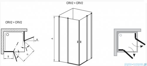 Ravak Chrome Kabina prysznicowa narożna, jedna połowa CRV2-80 satyna+transparent 1QV40U00Z1