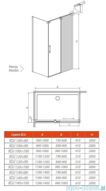 Radaway Espera KDJ Mirror kabina prysznicowa 140x100 prawa szkło przejrzyste 380695-01R/380234-71R/380140-01L