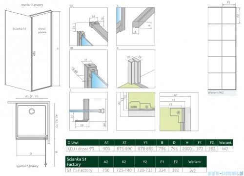 Radaway Nes Black Kdj I Factory kabina 90x75cm prawa rysunek techniczny