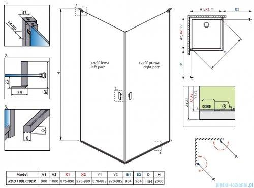 Radaway Nes Black KDD I kabina 90x100 przejrzyste 10021090-54-01L/10021100-54-01R
